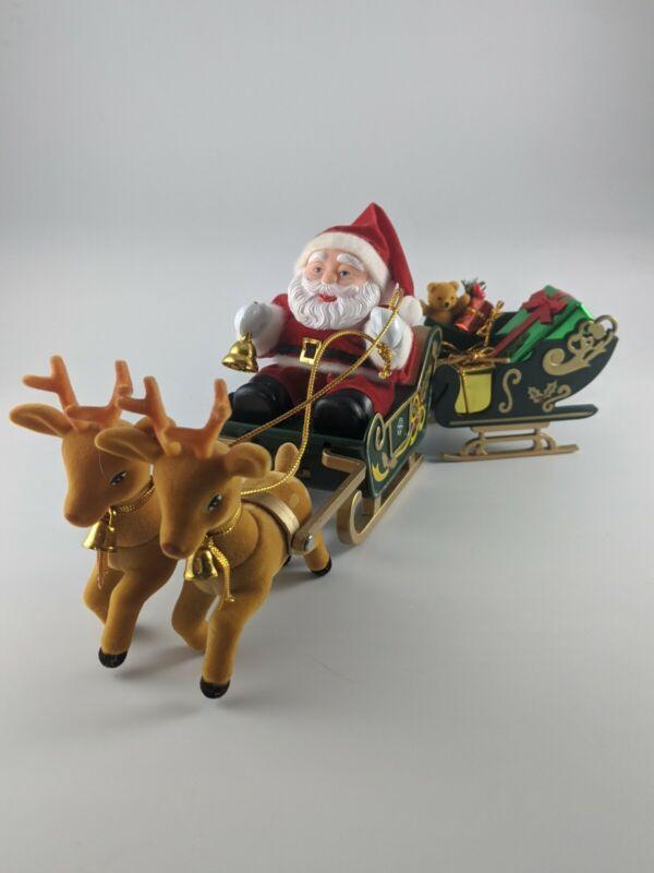Vintage 1995 Maisto Santa in Sleigh w Reindeer Original Box *Doesn