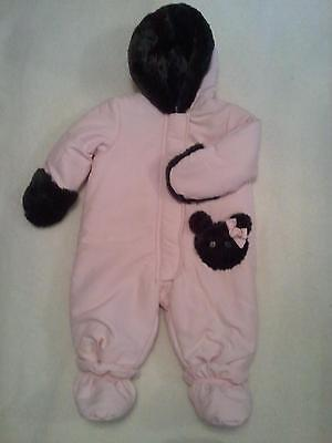 NWT Infant Baby Girls 3-6 Months Snowsuit Pram Bunting Faux
