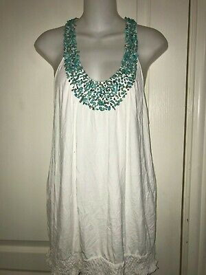 Top White Natural (INC International Concepts White Knit Top Blouse w/Natural Turquoise Neck Trim  )