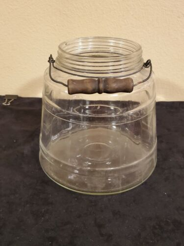 Vintage Gallon Barrel Jar with Wood Bale Handle (No Lid) Great for use/display
