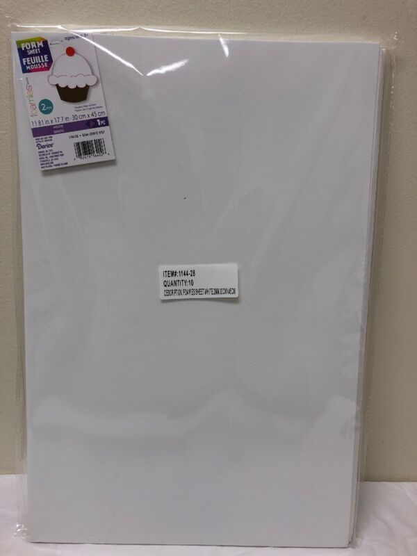 "Darice Foamies Sheets 12""X18"" 2mm-White, Set Of 10 New 1144-28"