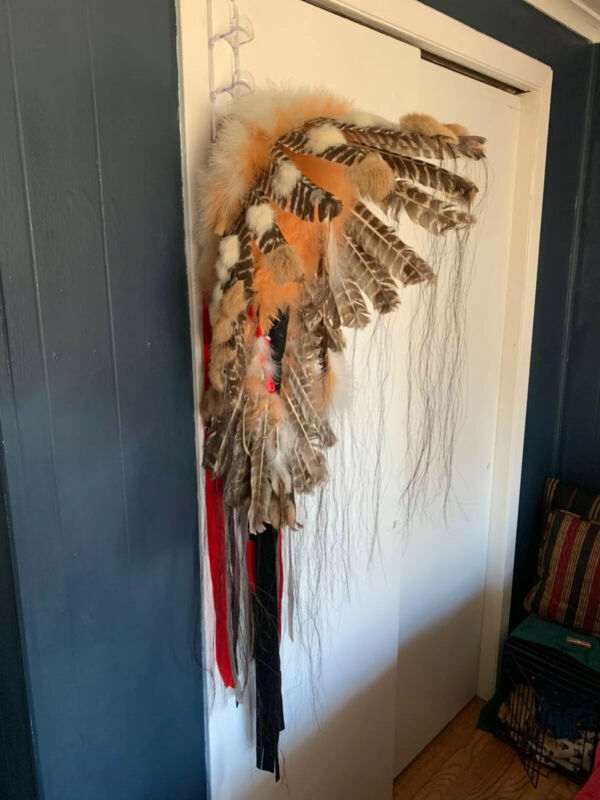 """Assiniboine Warbonnet Red, Brown and White """"Little Runner """""""