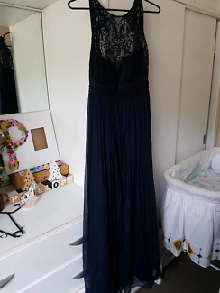 Forever New size 8 lace, beaded, navy long dress (bridesmaids)