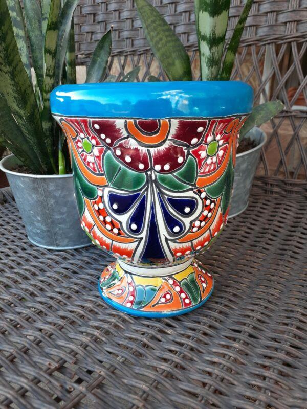 Mexican Talavera Art Pottery Yard Garden Planter Flower Pot With Stand