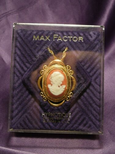 Max Factor Hypnotique Creme Perfume Cameo Brooch Necklace