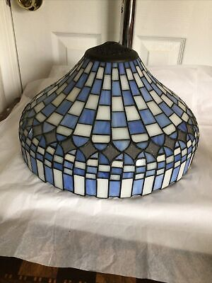 """Tiffany Style Leaded Stained Glass Table Lamp Dome Shade 14 1/2"""" x 9"""" Blue White"""