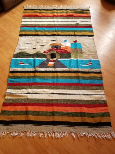 Native American Village Stripes Large Blanket / Rug / Wall Hanging
