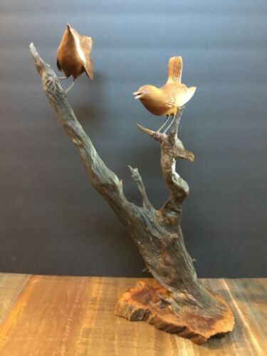 VINTAGE HAND CARVED WOOD BIRDS ON BRANCHES SIGNED