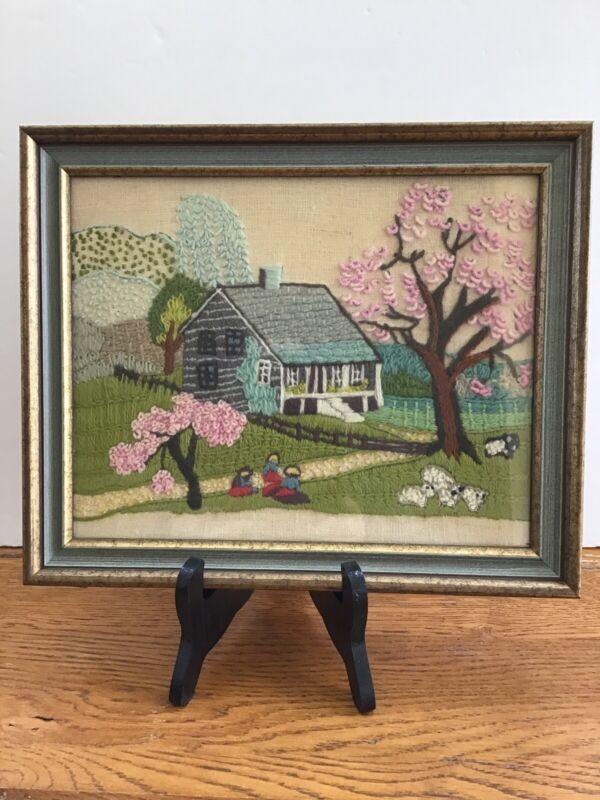 "Vintage Custom Framed Intricate Embroidered Cottage Scene 11 1/2 X 9 1/2"""