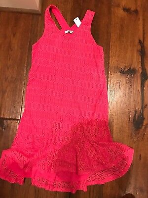 NEW DKNY Hot Pink Patterned Dress in Girls Size L (Hot Girls In Dresses)