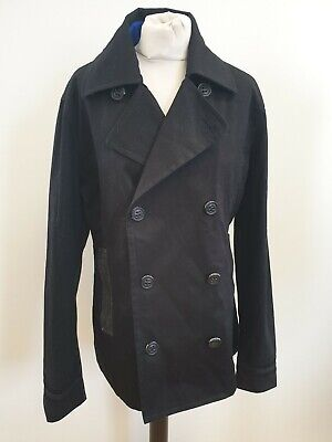 DD376 MENS SUPERDRY BLACK GREY DOUBLE BREASTED COTTON COLLARED JACKET UK L EU 52