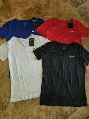 New Womens Nike Dri Fit Training V-Neck Shirt T-Shirt Short Sleeve Red Blue Gray