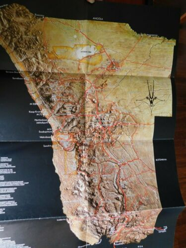 South West Africa Tourist Guide / Map 1979 - approx 16 x 23 inches