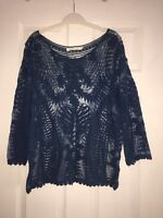 Teal blue lace top blouse shirt new