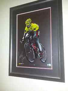 Signed cadel Evans framed print. Bmc cycling. Nairne Mount Barker Area Preview