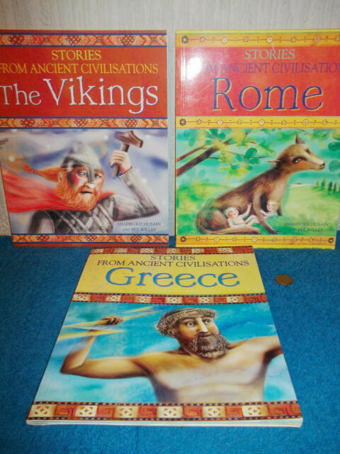STORIES FROM ANCIENT CIVILISATIONS x 3 PB BOOKS - THE VIKINGS, GREECE, ROME