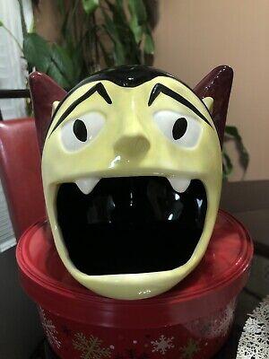 Halloween Ceramic Count Dracula Vampire Cookie Jar Snack Tray