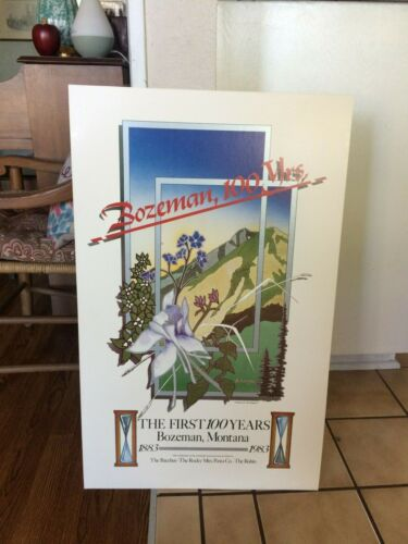 "Rare Bozeman Montana Centennial Poster 1983 Large 18"" x 29"" The First 100 Years"