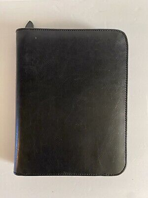 Vintage Day-timer Black Leather 7 Rings Planner Binder Sz 10.5x 8 Excell. Cond