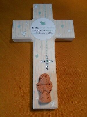 Kinderkreuz mit Schutzengel und 10 Kristallsteinchen Taufe Geburt Holzkreuz