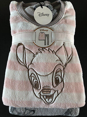 Fleece-schlafanzug (Disney Bambi Damen Pyjama Schlafanzug Fleece Hausanzug Rosa XXS-XS-XL Primark)