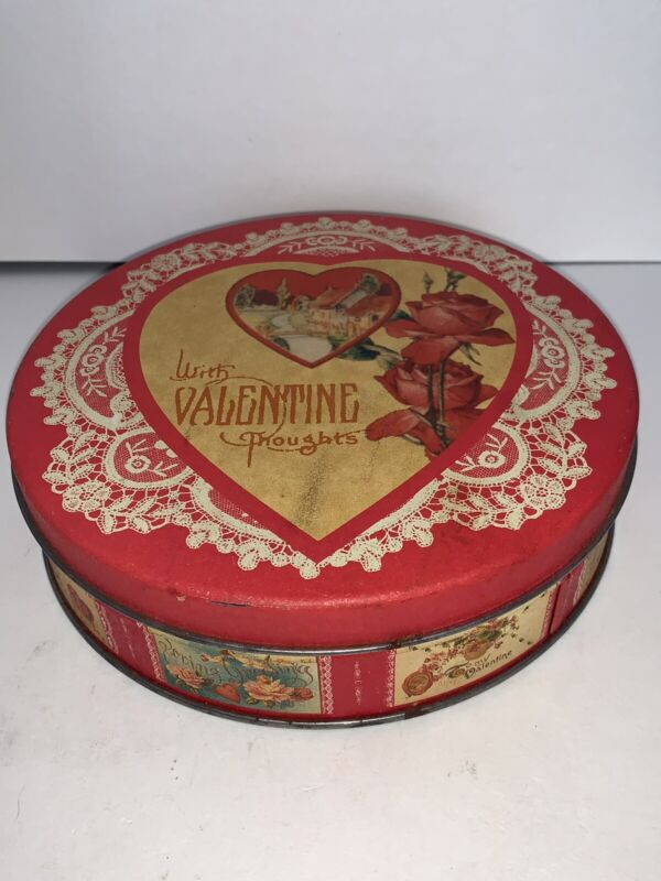 Vintage Valentines Day Candy Tin Decorated Antique Valentine Card Angels Cupids