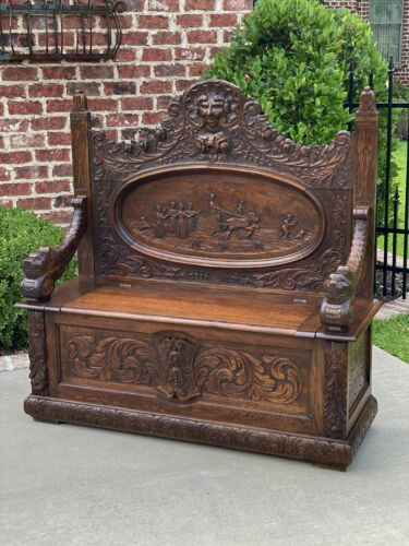 Antique French Bench Settee Renaissance Entry Hall Chariot Carved Oak 19th C