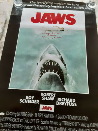 JAWS 24x36 autographed Movie poster Come in the water  added JSA Certified