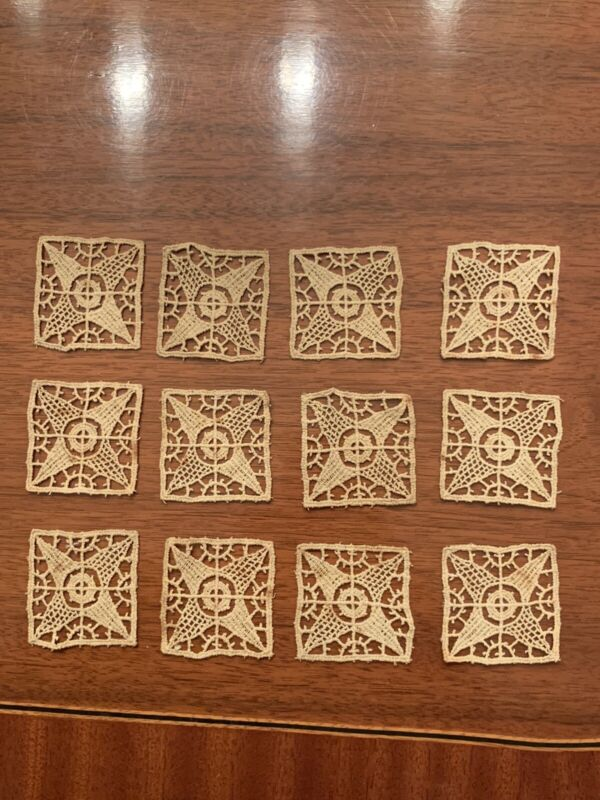 Rare Lot Of 12 Antique Embroidered Lace Appliques