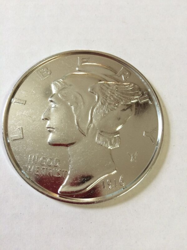 MERCURY DIME JUMBO 3 INCH COIN - PAPERWEIGHT NEW # 70934  MADE OF METAL.