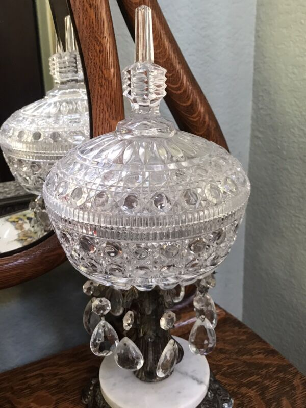 RARE OLD CUT GLASS LARGE COMPOTE / COVERED BOWL / CANDY DISH -w- CRYSTALS MARBLE