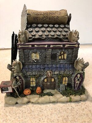 RARE MUNSTERS Morticians Monthly Newspaper HALLOWEEN HAWTHORNE VILLAGE Gargoyle](Simpsons Halloween Village)