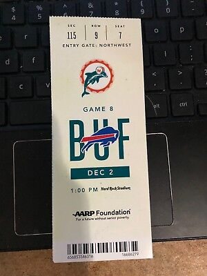 2018 MIAMI DOLPHINS VS BUFFALO BILLS NFL FOOTBALL TICKET STUB 12/2