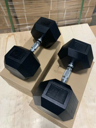 Sale!!  40LB PAIR (TOTAL 80LBS) Brand New Rubber Hex Dumbbells