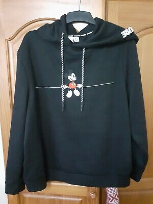 BNWT Primark MICKEY Mouse DISNEY Black Embroidered Hoodie UK Size XL 18/20
