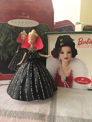 Rare 1997 HALLMARK Holiday Barbie Mattel Christmas Ornament Black Glitter Dress