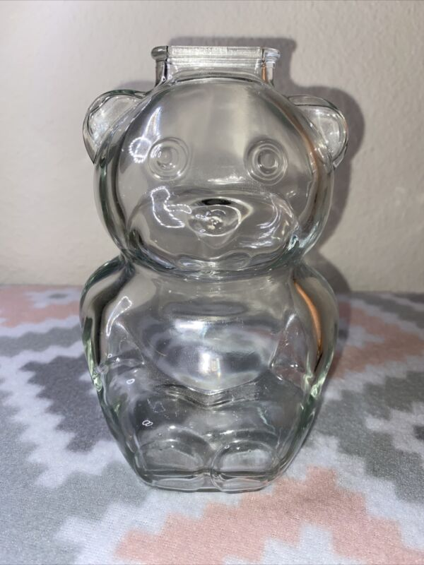 Vintage Anchor Hocking Clear Glass Teddy Bear Bank
