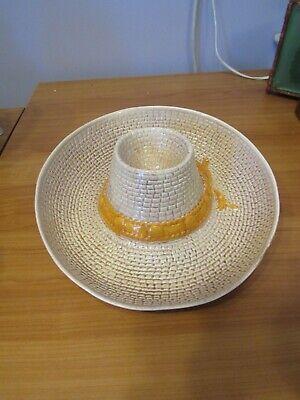 Straw Sun Garden Cowboy Sombrero Hat Chips Veggie & Dip Serving Bowl  (Sombrero Dip Hat)