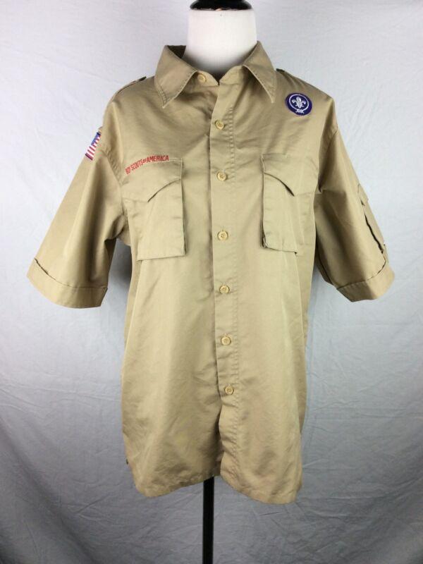 Boy Scout BSA Uniform Shirt Adult Medium M 67% Cotton 33% Poly SS 1 Patch