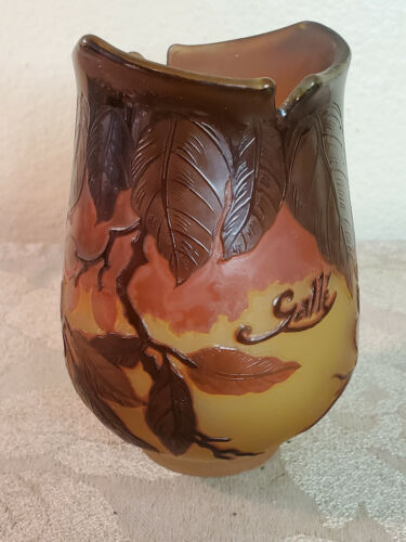 Leaf & Berries Cameo glass vase signed Galle made in France