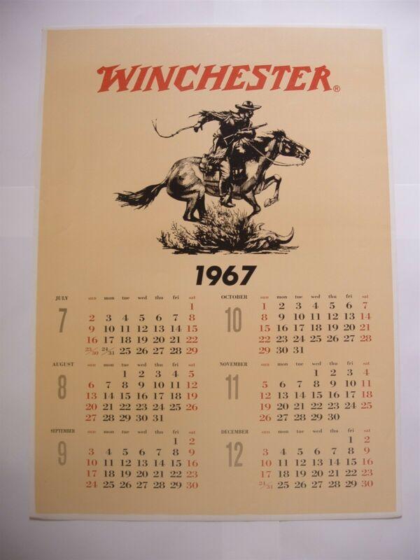 Rare Original 1967 July - December Winchester Calendar
