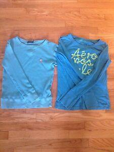 2 Blue long sleeve shirts. Polo+Aeropostale (10-14 yrs old)