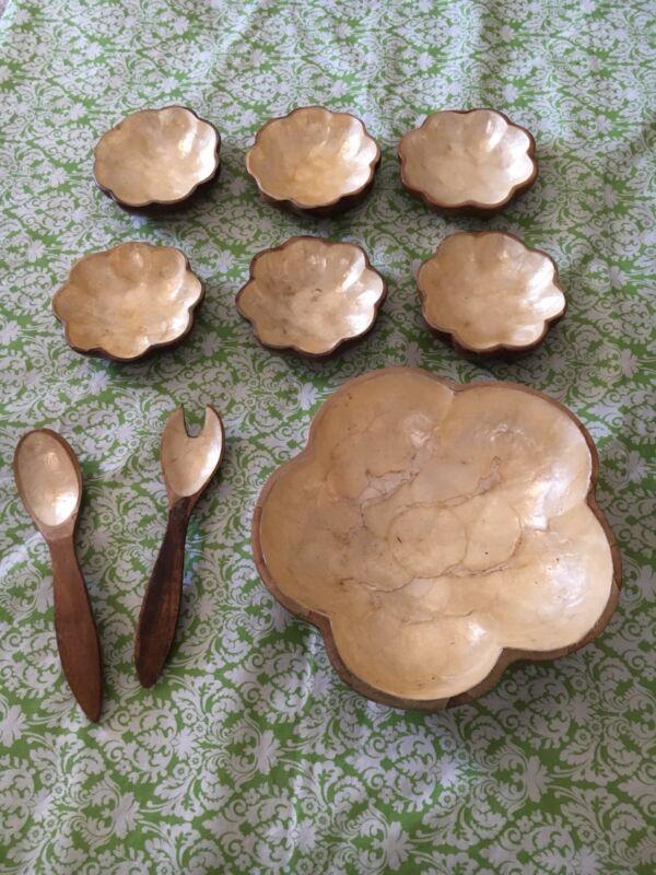 Vintage Wooden Monkey Pod Salad Bowl Set Capiz Shell
