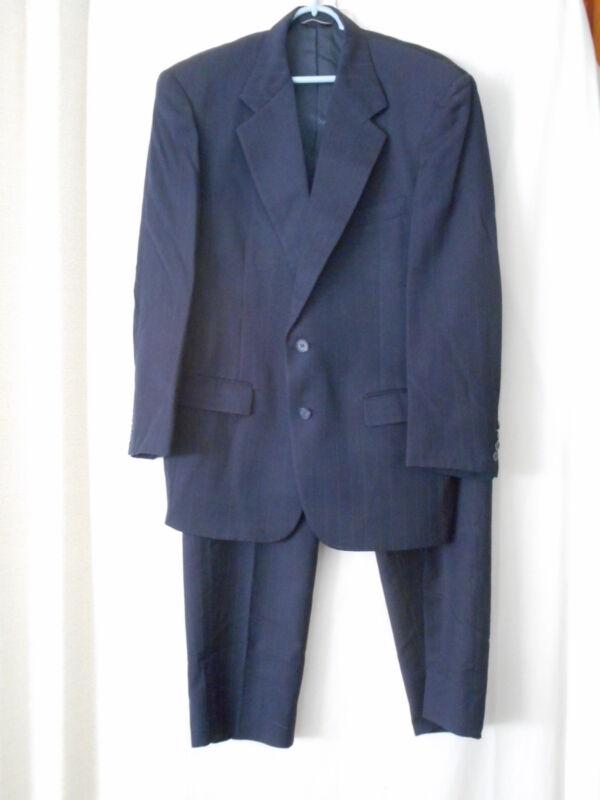 Stafford Navy Blue Pinstripe Wool Suit w/ Pleated pants - Union Label