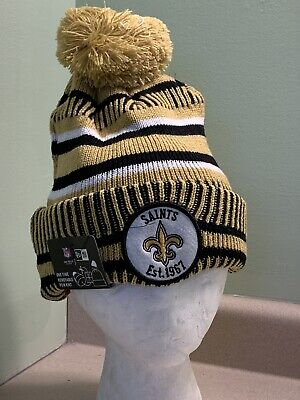 NFL NEW ERA NEW ORLEANS SAINTS 2019 Onfield Sports Winter Knit Pom Beanie OSFA