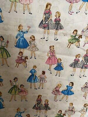 Vintage Girls Novelty Print Fabric 1.5 Yards