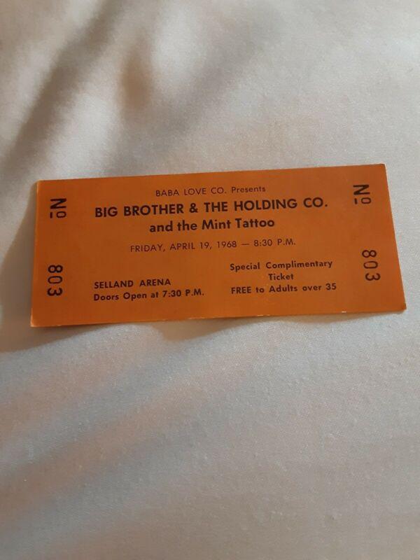 Janis Joplin Big Brother Ticket 1968