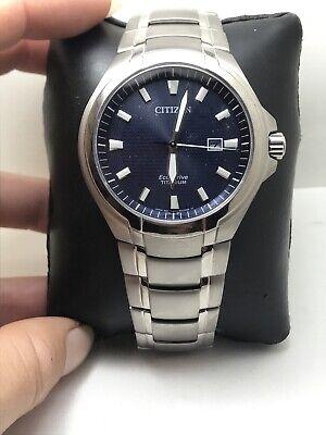Citizen Eco-Drive Paradigm Blue Dial Titanium Bracelet Men's Watch BM7431-51L-15