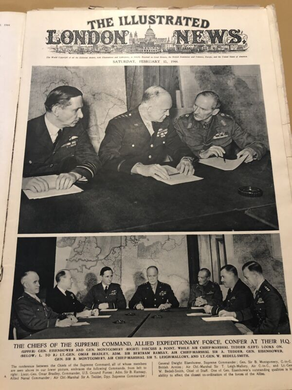 WW2 Illustrated London February 12th 1944 HQ Chiefs Eisenhower Tedder Montgomery