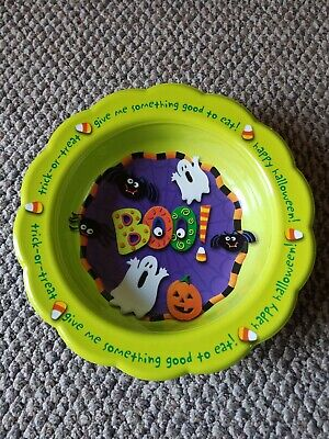 "Adorable Vintage Ullman Halloween Candy Bowl Ghost Pumpkin Bats Large 14.5"" USA"